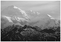 Mt Mc Kinley at sunrise from Denali State Park. Denali National Park, Alaska, USA. (black and white)