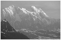 Mt Huntington and Mt Hunter at sunrise. Denali National Park, Alaska, USA. (black and white)