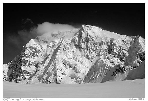 North Face of Mt Hunter. Denali National Park (black and white)