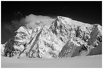 North Face of Mt Hunter. Denali National Park, Alaska, USA. (black and white)