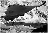 Kahilna peaks seen from 16000ft on Mt McKinley. Denali National Park, Alaska, USA. (black and white)