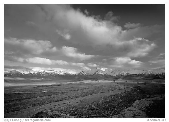 Wide braided rivers, Alaska Range, and clouds, late afternoon. Denali  National Park (black and white)