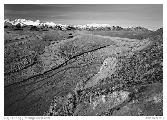 Braided river and Alaska Range from Polychrome Pass. Denali  National Park (black and white)