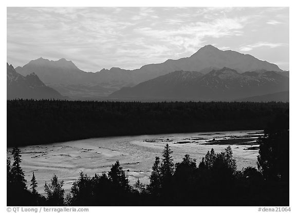 Mt Mc Kinley and Chulitna River at sunset. Denali National Park (black and white)