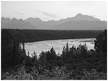 Mt Mc Kinley and Chulitna River at sunset from  Denali State Park. Denali  National Park ( black and white)