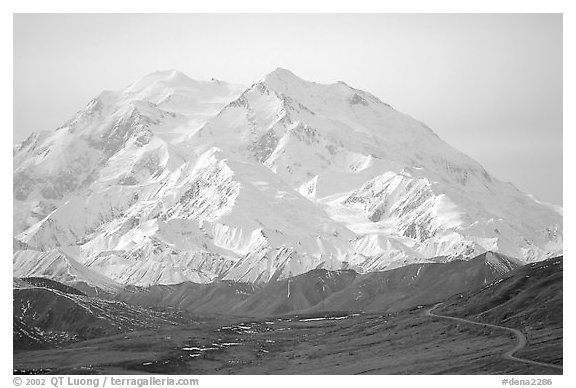 North Face of Mt McKinley above Thorofare Pass. Denali National Park (black and white)