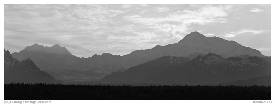 Alaska range and sunset sky. Denali National Park (black and white)