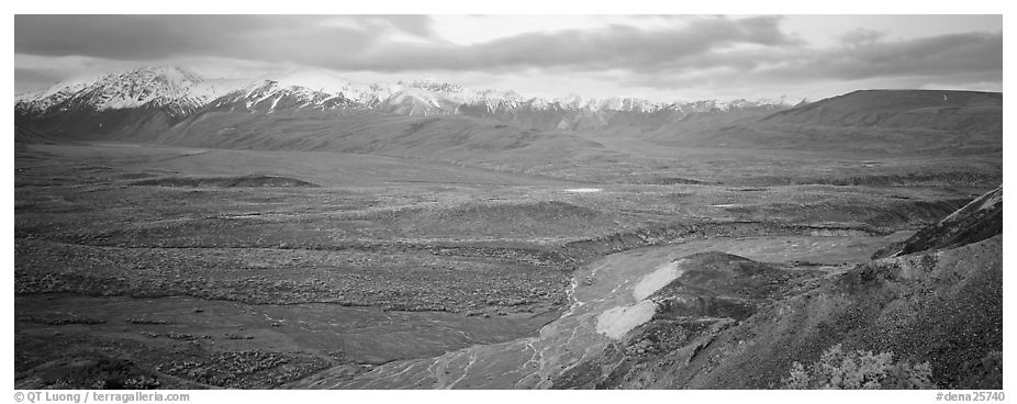 Wide mountain valley with braided river. Denali National Park (black and white)