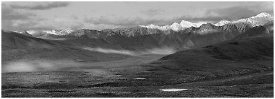 Evening light on Alaska Range. Denali National Park (Panoramic black and white)