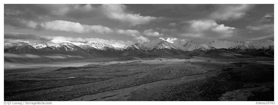 Mountain landscape with clouds. Denali National Park (black and white)