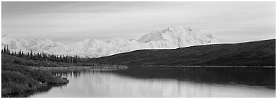 Pastel landscape with Mount McKinley reflected in lake. Denali National Park (Panoramic black and white)
