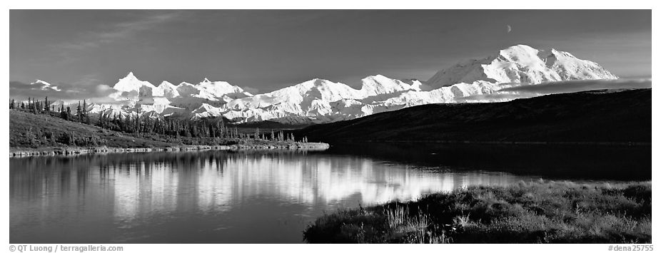 Tranquil autumn evening with Mount McKinley reflections. Denali National Park (black and white)
