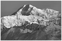 Mt McKinley seen from the south. Denali National Park ( black and white)