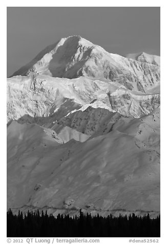 Mt McKinley in winter. Denali National Park (black and white)