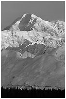 Mt McKinley in winter. Denali National Park ( black and white)