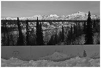 Forest and Alaska range interpretative sign. Denali National Park, Alaska, USA. (black and white)
