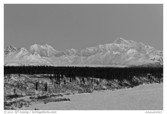Denali and Mt Hunter at dawn in winter. Denali National Park (black and white)