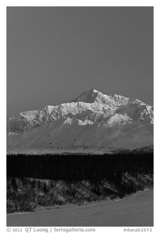 Mt McKinley under clear winter sky at sunrise. Denali National Park (black and white)