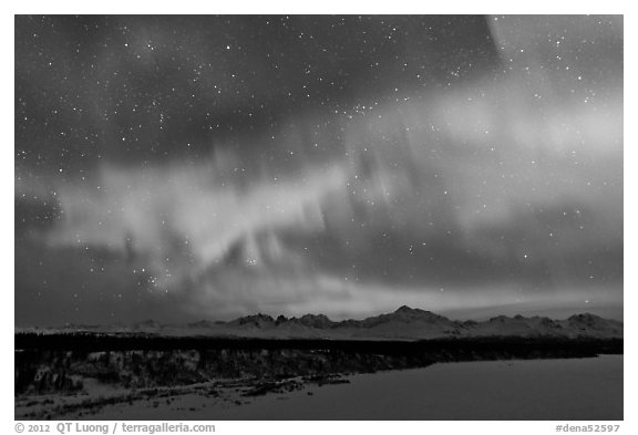 Aurora and stars above Alaska range. Denali National Park (black and white)