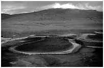 Aerial view of meandering river and mountains. Gates of the Arctic National Park, Alaska, USA. (black and white)