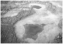Aerial view of lake, tundra and taiga. Gates of the Arctic National Park ( black and white)