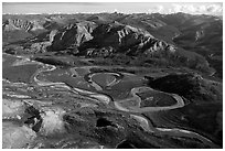 Aerial view of vast landscape of meandering Alatna river and mountains. Gates of the Arctic National Park, Alaska, USA. (black and white)