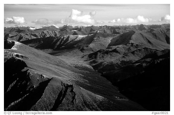 Aerial view of mountains. Gates of the Arctic National Park (black and white)
