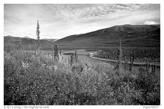 Alatna River valley near Circle Lake. Gates of the Arctic National Park (black and white)