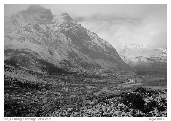 Fresh snow near Arrigetch Peaks. Gates of the Arctic National Park (black and white)