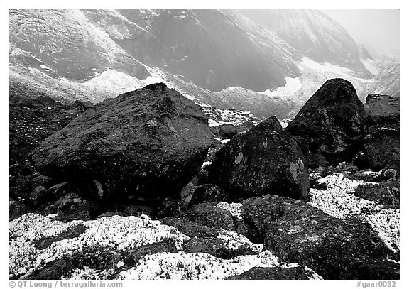 Boulders at the base of Arrigetch Peaks. Gates of the Arctic National Park (black and white)