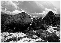 Boulders at the base of Arrigetch Peaks. Gates of the Arctic National Park ( black and white)