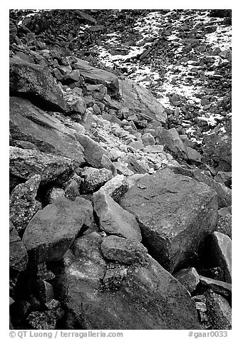 Lichen covered rocks at the base of Arrigetch Peaks. Gates of the Arctic National Park (black and white)