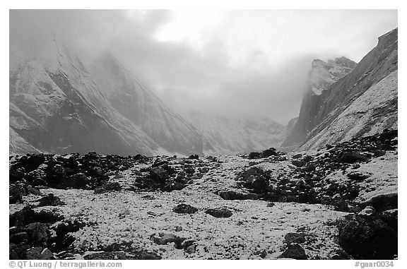Fresh snow dusts the Arrigetch Peaks. Gates of the Arctic National Park (black and white)