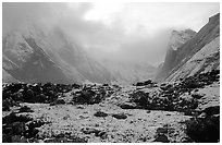 Fresh snow dusts the Arrigetch Peaks. Gates of the Arctic National Park, Alaska, USA. (black and white)