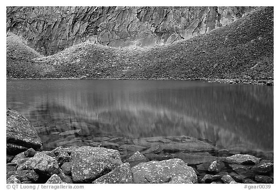 Lake I in Aquarius Valley near Arrigetch Peaks. Gates of the Arctic National Park (black and white)