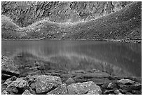 Lake I in Aquarius Valley near Arrigetch Peaks. Gates of the Arctic National Park, Alaska, USA. (black and white)