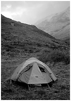 Camping in Arrigetch Valley. Gates of the Arctic National Park, Alaska (black and white)