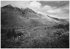 Tundra, valley, and mountains with fresh snow. Gates of the Arctic National Park ( black and white)