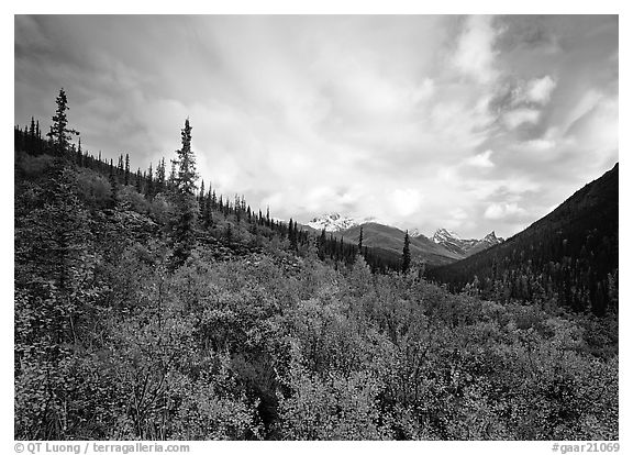 Arrigetch valley and clouds. Gates of the Arctic National Park (black and white)