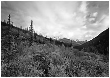 Arrigetch valley and clouds. Gates of the Arctic National Park ( black and white)