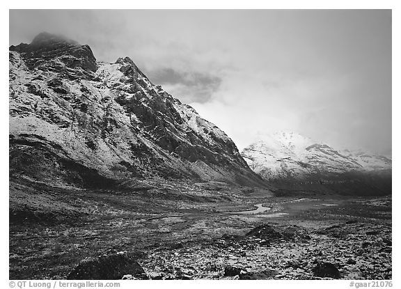 Valley and mountains, clearing storm. Gates of the Arctic National Park (black and white)