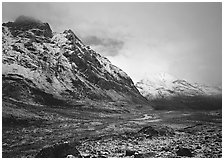 Valley and mountains, clearing storm. Gates of the Arctic National Park ( black and white)