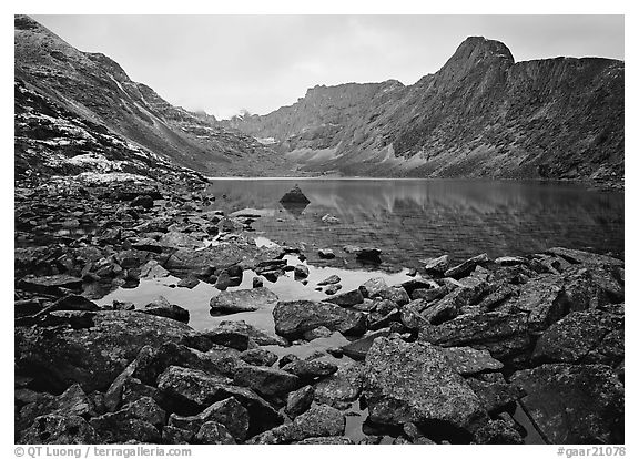 Lake II in Aquarius Valley near Arrigetch Peaks. Gates of the Arctic National Park (black and white)