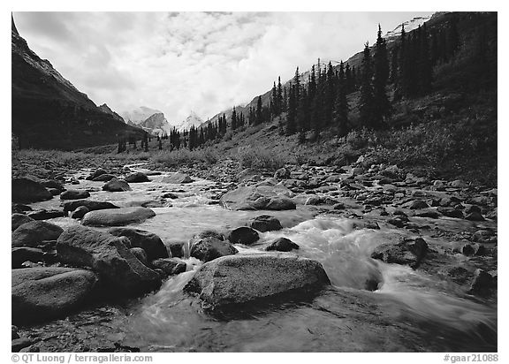 River flowing over boulders, Arrigetch Creek. Gates of the Arctic National Park (black and white)