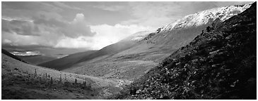 Mountain valley. Gates of the Arctic National Park (Panoramic black and white)