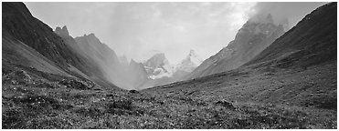 Jagged peaks of the Brooks range. Gates of the Arctic National Park (Panoramic black and white)