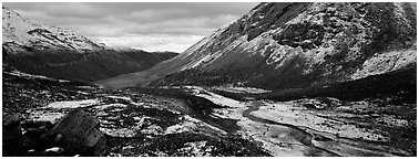 Brooks range stormy scenery with fresh snow. Gates of the Arctic National Park (Panoramic black and white)