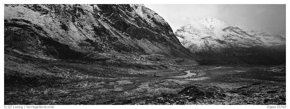 Brooks range landscape after snowstorm. Gates of the Arctic National Park (black and white)
