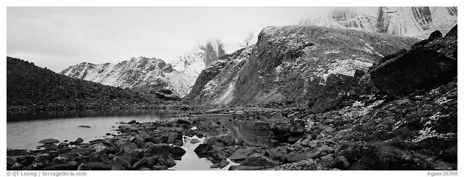 Arrigetch Peaks mineral landscape. Gates of the Arctic National Park (black and white)