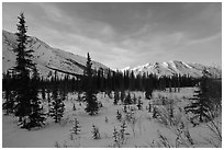 Brooks range, winter sunset. Gates of the Arctic National Park ( black and white)